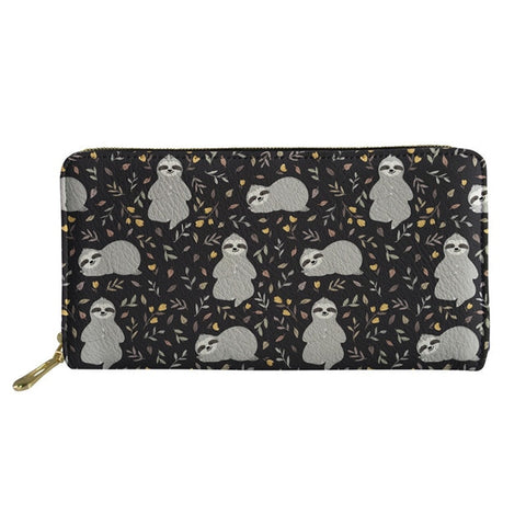 Image of Black Sloth Purse / Wallet - Sloth Gift shop