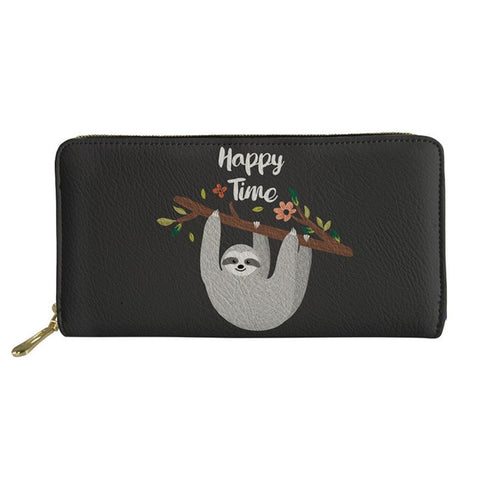 Image of Happy Sloth Time Purse / Wallet - Sloth Gift shop