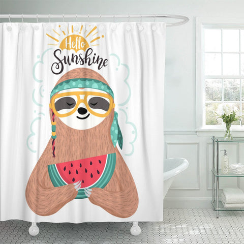 Image of Sunshine Sloth Shower Curtain - Sloth Gift shop