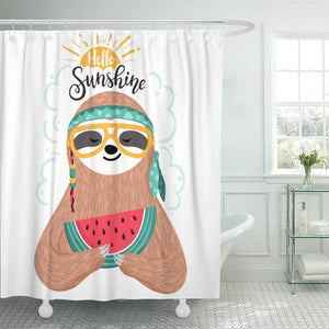 Sunshine Sloth Shower Curtain - Sloth Gift shop