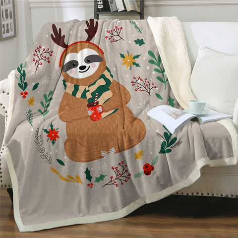 Merry ReindSloth Blanket - Sloth Gift shop