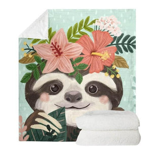 Aloha Sloth Blanket - Sloth Gift shop