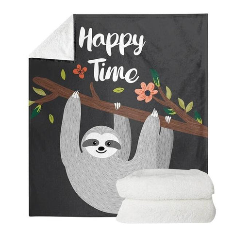 Happy Time Sloth Blanket - Sloth Gift shop