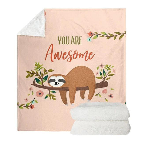 Sloth is Awesome Blanket - Sloth Gift shop