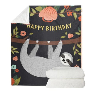 Happy Birthday Sloth Blanket - Sloth Gift shop