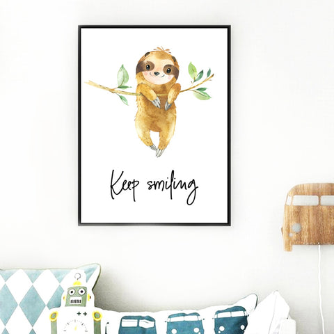 Image of Keep Sloth Smiling Poster - Sloth Gift shop