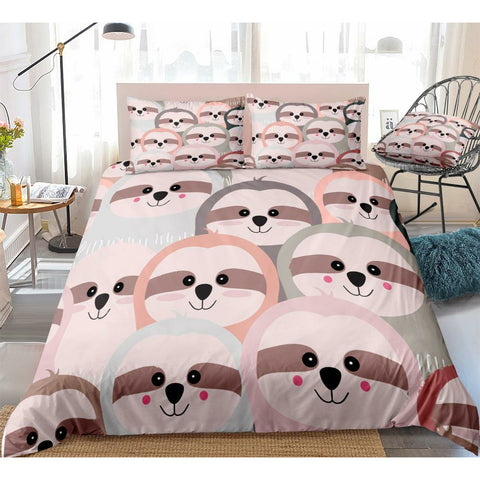 Happy Colorful Sloth Bedding Set