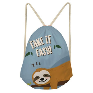 Take it Easy Sloth Drawstring Backpack - Sloth Gift shop