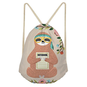 Hippie Sloth Drawstring Backpack - Sloth Gift shop