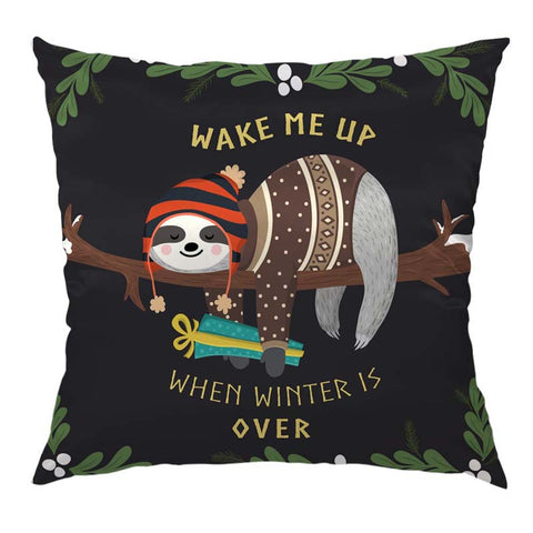 Winter Sloth Cushion Cover - Sloth Gift shop