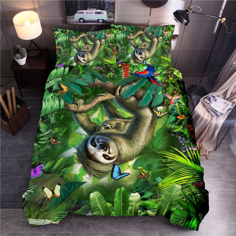 Green Jungle Sloth Bedding Set