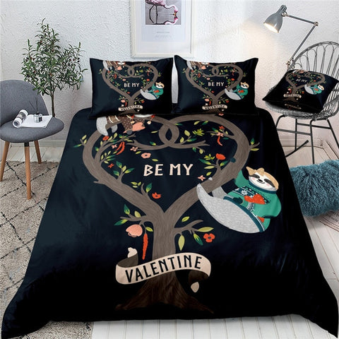 Be My Sloth Valentine Bedding Set - Sloth Gift shop