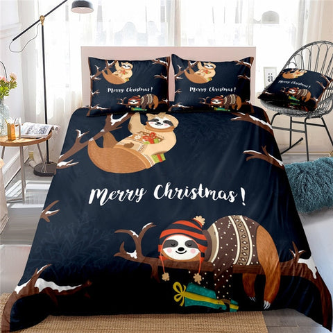 Merry Christmas Sloth Bedding Set - Sloth Gift shop