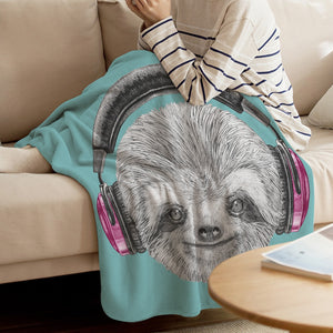 Dj Sloth Blanket - Sloth Gift shop