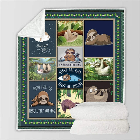 Sloth Words Blanket