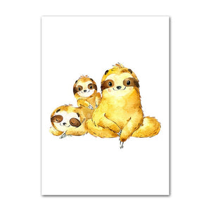 Wacky Sloth Family Portrait Poster - Sloth Gift shop