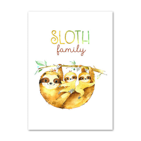 Family Sloth Poster - Sloth Gift shop