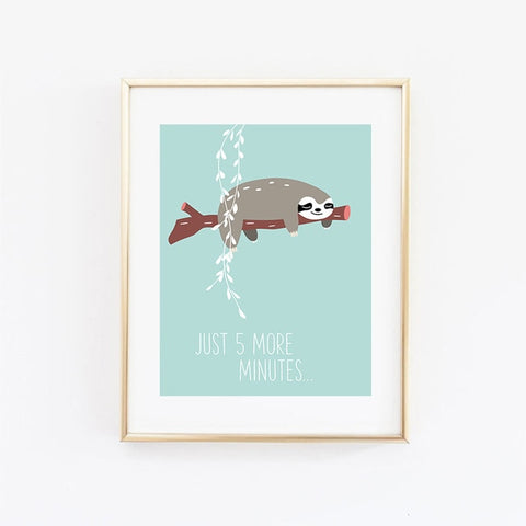 5 Sloth Minutes Poster - Sloth Gift shop