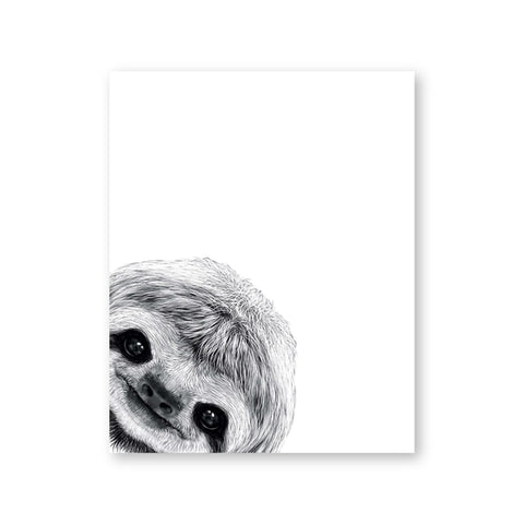 Peekaboo One Head Sloth Poster - Sloth Gift shop