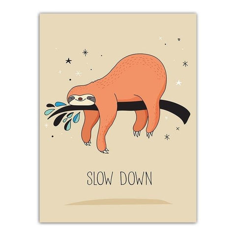 Down Slow Sloth Poster