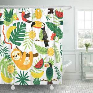 Tropical Sloth Shower Curtain - Sloth Gift shop