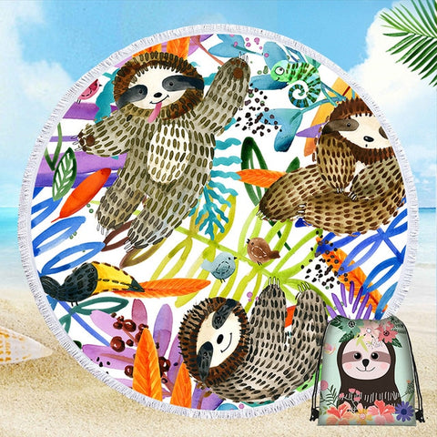 Colorful Sloth Beach Towel