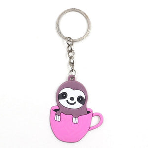Pink Sloth Cup Keyring - Sloth Gift shop