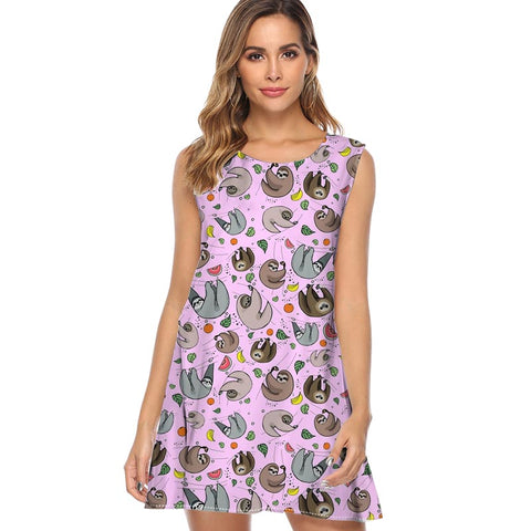 Sloth Pink Dress - Sloth Gift shop