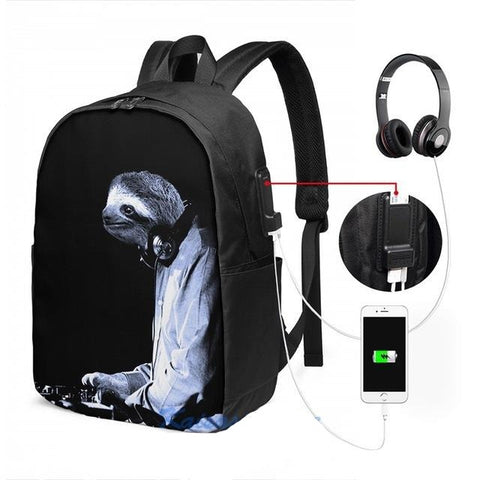 Image of DJ Sloth Travel Backpack - Sloth Gift shop