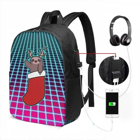 Vaporwave Sloth Travel Backpack - Sloth Gift shop