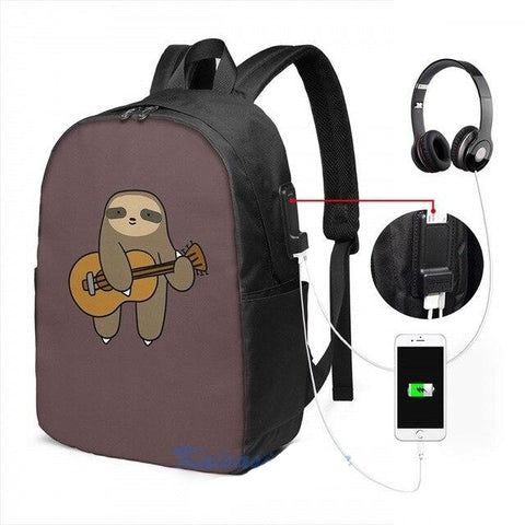 Sloth Guitarer Travel Backpack - Sloth Gift shop