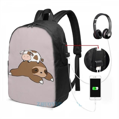 Cow and Sloth Travel Backpack - Sloth Gift shop
