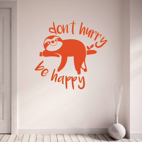 Be Happy Sloth Wall Sticker - Sloth Gift shop
