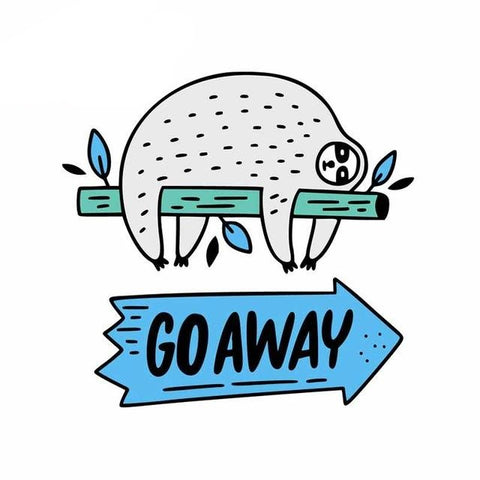 Go Away Sloth Sticker - Sloth Gift shop