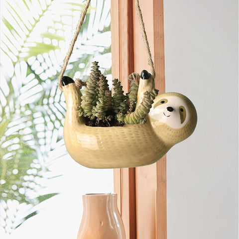 Happy Sloth Flowerpot - Sloth Gift shop