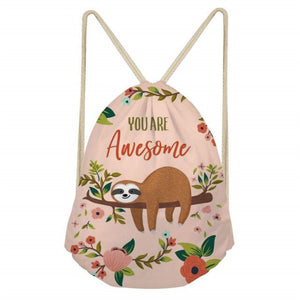 You Are Awesome Sloth Drawstring Backpack