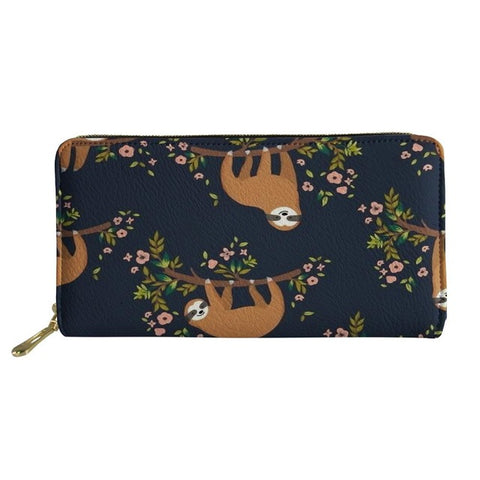 Image of Floral Sloth Purse / Wallet - Sloth Gift shop