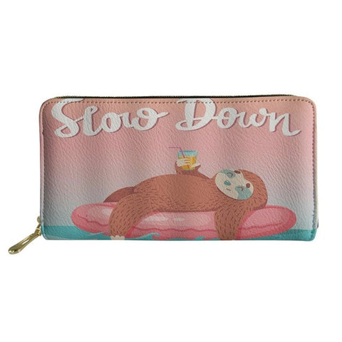Image of Slow Sloth Down Purse / Wallet - Sloth Gift shop