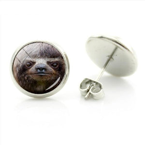 Mad Sloth Face Earrings - Sloth Gift shop