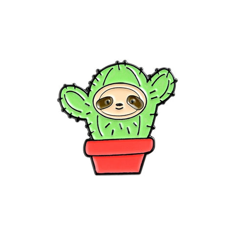 Cactus Sloth Pin Badge