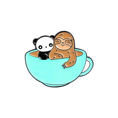 Cup Of Coffee Sloth Pin Badge