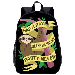 Never Party Sloth Travel Backpack