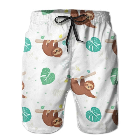 Tropical Leaves Sloth Boardshort