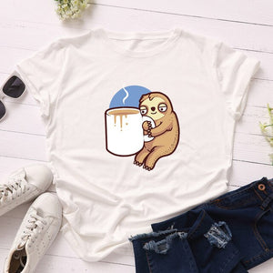 Cup of Coffee Sloth T-shirt - Sloth Gift shop