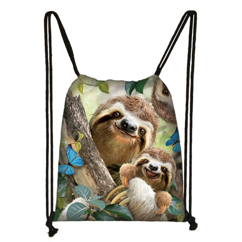 Mom Baby Sloth Drawstring Backpack