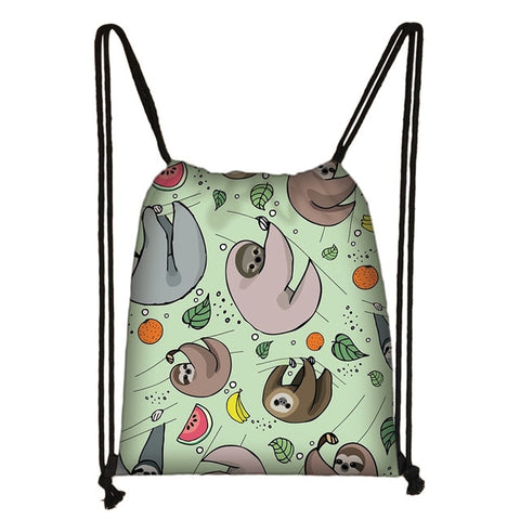 Group of Fruit Sloth Drawstring Backpack