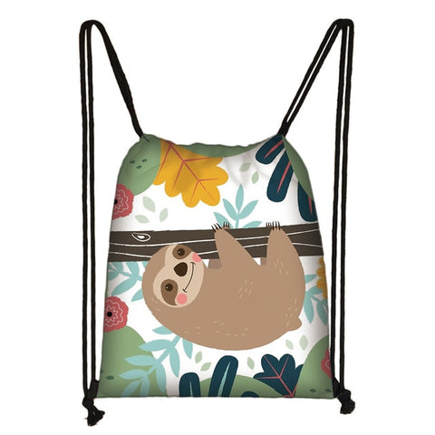 Cartoon Sloth Drawstring Backpack
