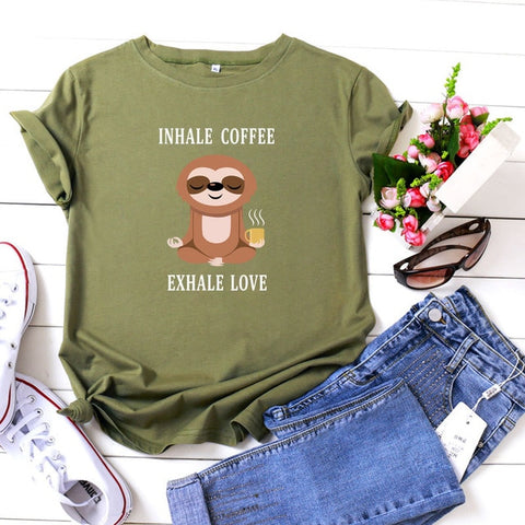 Image of Inhale Exhale Sloth T-shirt