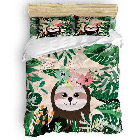 Forest Nature Sloth Bedding Set