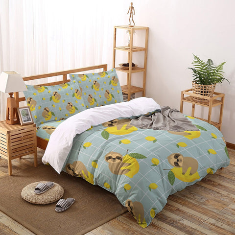 Animal Sloth Lemon Fruit  Bedding Sets